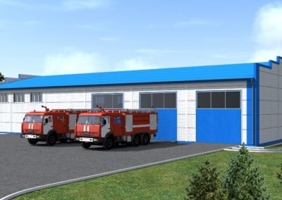 Здание пожарного депо IV типа на 2 автомобиля